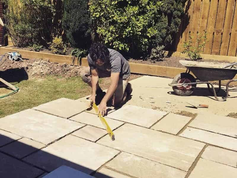 new patio being measured